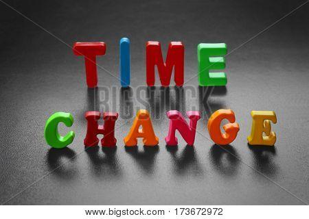 Motivation concept. Phrase TIME CHANGE on chalkboard background