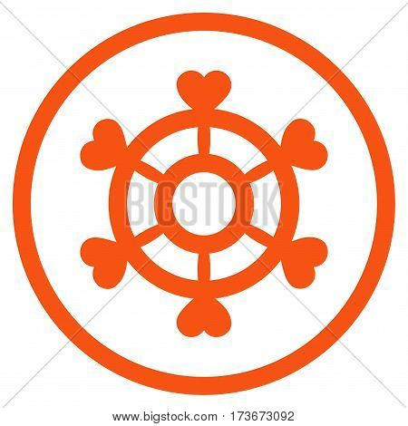 Lovely Boat Steering Wheel rounded icon. Vector illustration style is flat iconic bicolor symbol inside circle orange and gray colors white background.