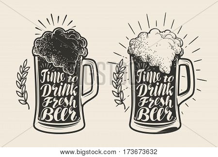 Glass, mug of beer with foam. Brewery, drink, ale symbol. Lettering calligraphy vector