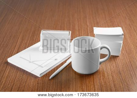 Blank goods on wooden table