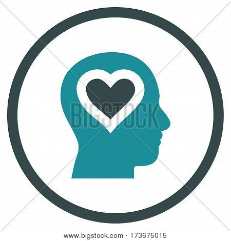 Love In Head rounded icon. Vector illustration style is flat iconic bicolor symbol inside circle soft blue colors white background.