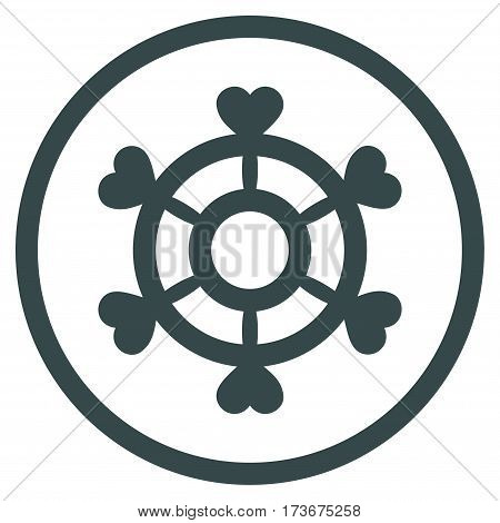 Lovely Boat Steering Wheel rounded icon. Vector illustration style is flat iconic bicolor symbol inside circle soft blue colors white background.