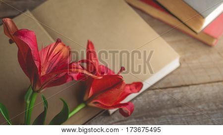 Morning relaxation and cozy with blooming red lilly on dark gold book with copy space for woman lifestyle nostalgic concept