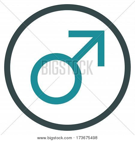 Mars Male Symbol rounded icon. Vector illustration style is flat iconic bicolor symbol inside circle soft blue colors white background.