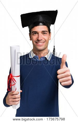 Smiling student portrait. Isolated on white