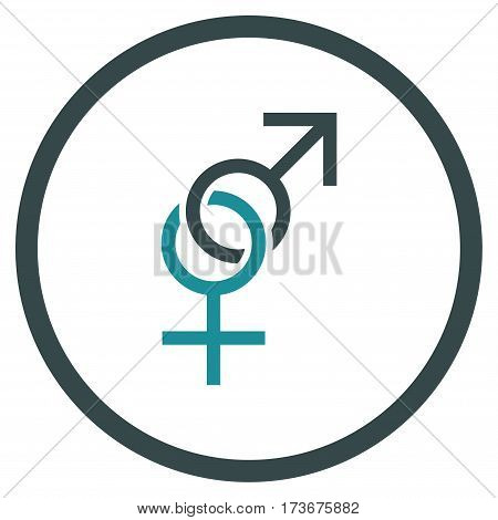 Sex Symbol rounded icon. Vector illustration style is flat iconic bicolor symbol inside circle soft blue colors white background.