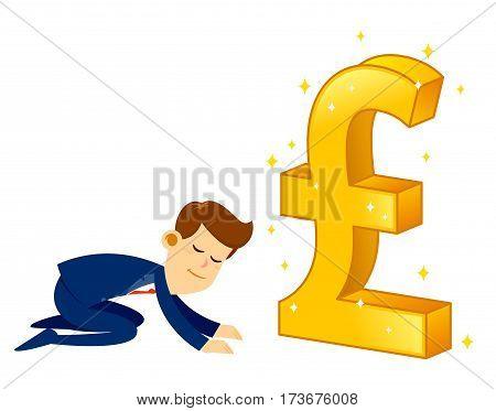 Vector stock of a businessman bow down and worship a big shiny golden pound sterling currency symbol