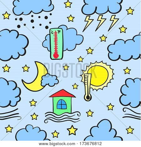 Illustration of weather theme doodles collection stock