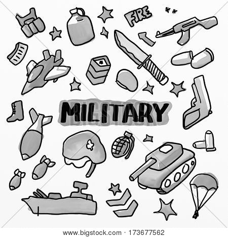 Military set. Watercolor drawing sketch illustration