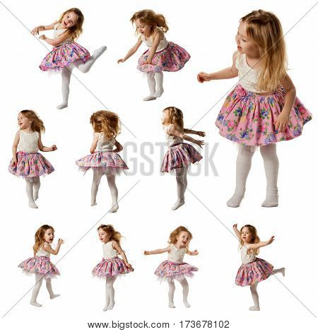 Little cute girl dances, jumps, laughs, sing song. Isolated on white background