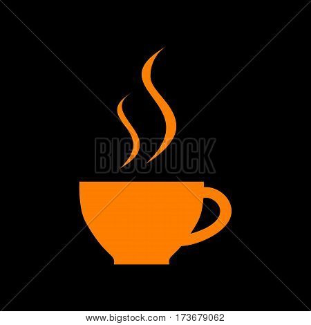 Cup of coffee sign. Orange icon on black background. Old phosphor monitor. CRT.