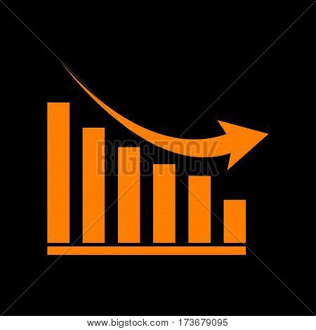 Declining graph sign. Orange icon on black background. Old phosphor monitor. CRT.