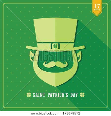 Happy Saint Patrick's Day / Symbol of Leprechaun on green background in flat design with long shadow / Vector illustration.