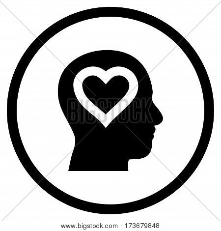Love In Head rounded icon. Vector illustration style is flat iconic symbol inside circle black color white background.
