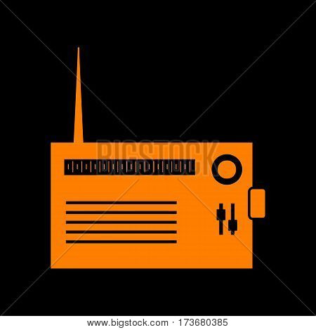 Radio sign illustration. Orange icon on black background. Old phosphor monitor. CRT.