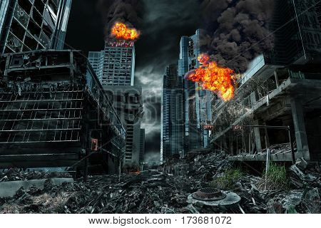 Detailed destruction of fictitious city with fires explosions debris and collapsing structures. Concept of war natural disasters judgment day fire nuclear accident or terrorism.