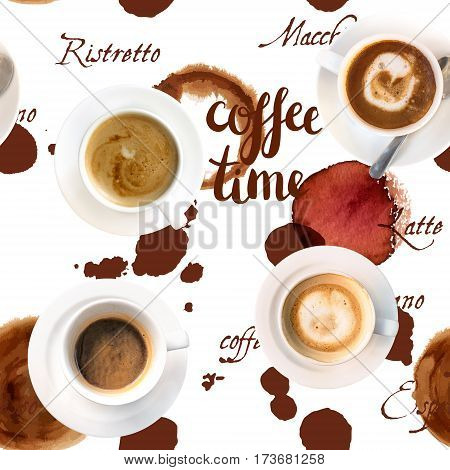A seamless background texture with the handwritten words Coffee Time, cup rings, and coffee terms
