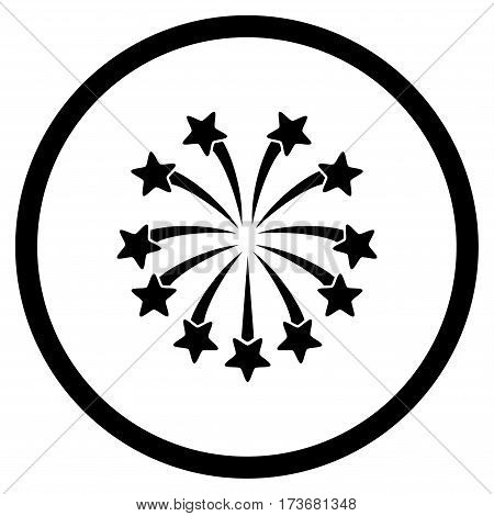 Spherical Fireworks rounded icon. Vector illustration style is flat iconic symbol inside circle black color white background.