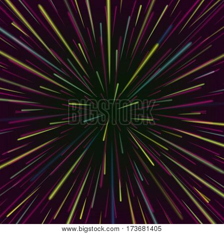 Space Vortex Vector. Abstract Background With Star Warp Or Hyperspace.