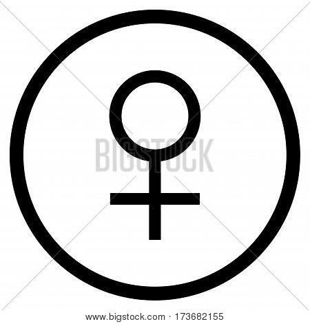 Venus Female Symbol rounded icon. Vector illustration style is flat iconic symbol inside circle black color white background.