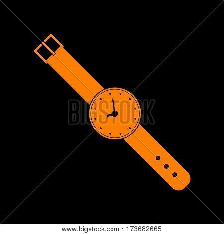 Watch sign illustration. Orange icon on black background. Old phosphor monitor. CRT.