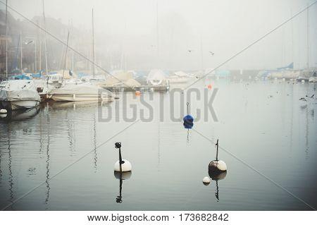 Winter fog on lake Geneva or lac Leman, Switzerland
