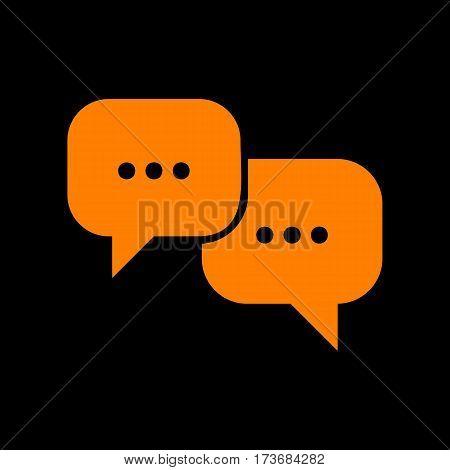 Speech bubbles sign. Orange icon on black background. Old phosphor monitor. CRT.