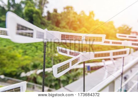 Solar Panels With Turbines In The City