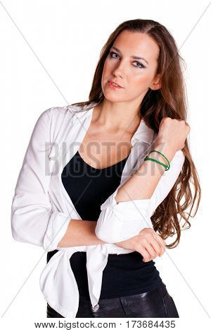 Happy beautiful brunette woman, isolated on white background