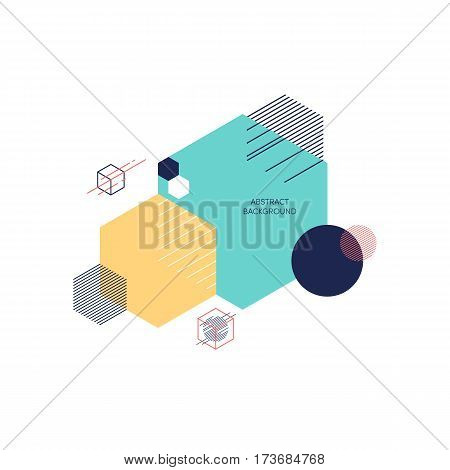 Abstract geometric composition background modern vintage art design style and futurism. Simplicity polygon shapes design element can be used for poster print design template.