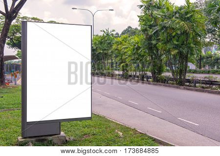 Billboard Blank On Road With City View Background For Advertising