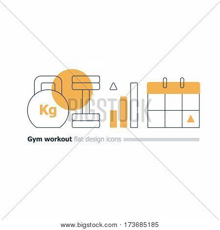 Weight lifting program concept, kettlebell and dumbbell icon, gym workout plan, intensive training week, strength improvement, sport calendar, vector flat design illustration