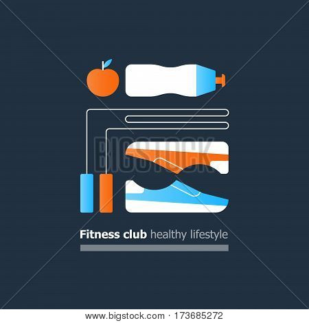 Fitness club poster concept, healthy lifestyle, collage with sneakers, trainers, jumping rope and water bottle, apple icon, training course, sport activity banner, vector flat design illustration