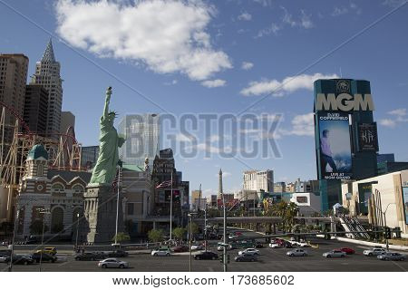 LAS VEGAS, NEVADA - MAY 11, 2014: Las Vegas strip with New York New York hotel and casino (L) and MGM Grand Las Vegas. Las Vegas is one of the top tourist destinations in the world