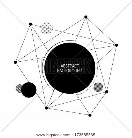 Abstract geometric composition background modern art design style and futurism. Simplicity black and white circle and line design element can be used for poster print design template.
