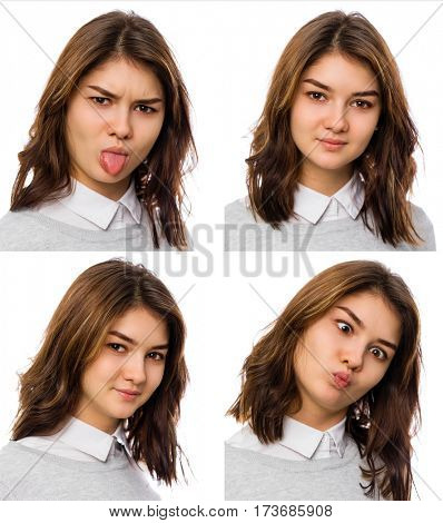 Funny collage of photos on the documents. Beautiful brunette women, isolated on white background