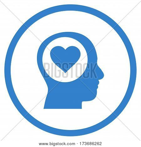 Love Thinking Head rounded icon. Vector illustration style is flat iconic symbol inside circle cobalt color white background.