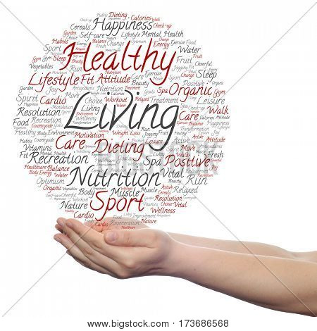 Concept or conceptual healthy living positive nutrition or sport circle word cloud in hand isolated on background