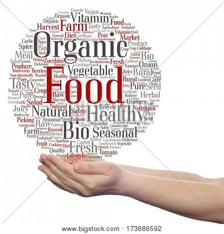 Concept or conceptual organic food healthy bio vegetables circle word cloud in hand isolated on background
