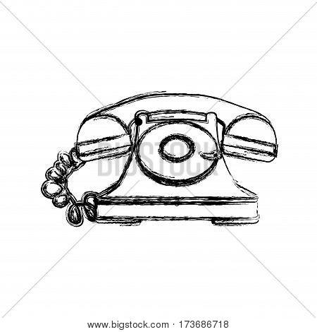silhouette sticker color telephone icon, vector illustraction design image