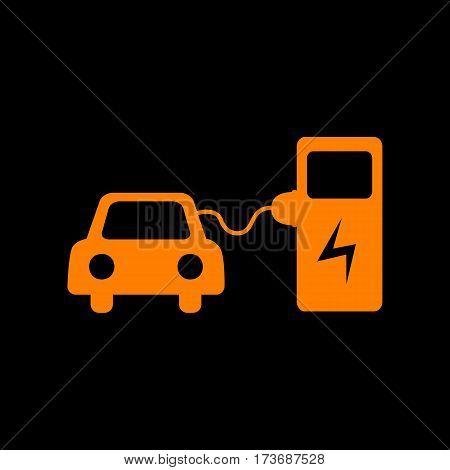 Electric car battery charging sign. Orange icon on black background. Old phosphor monitor. CRT.