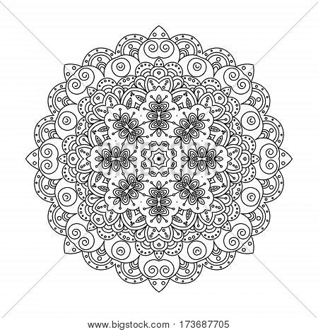 Mandala flower. Decorative elements of decoration. Ideal for coloring book page template