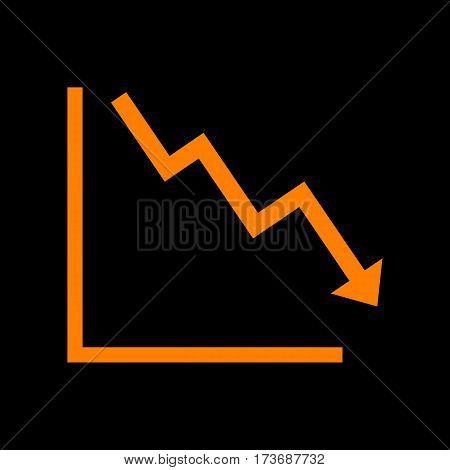 Arrow pointing downwards showing crisis. Orange icon on black background. Old phosphor monitor. CRT.