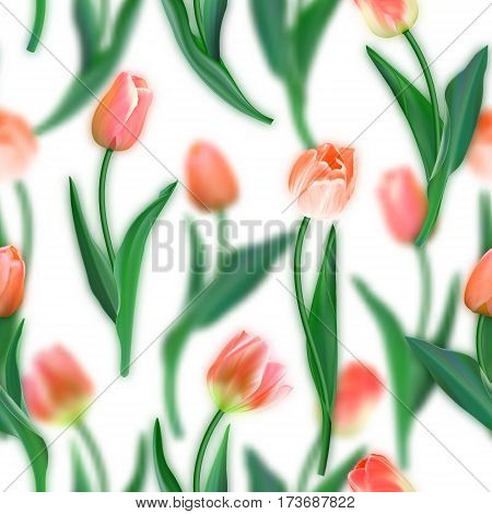 Floral seamless pattern. Realistic tulips with blurred tulips background. Watercolor imitation. Not trace. Vector seamless background. Red tulips