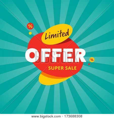 Limited offer discount sticker isolated vector illustration. Exclusive offer tag, price discount promo, super sale ad, advertisement retail label, special shopping symbol. Modern style offer sign.
