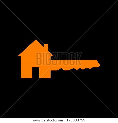 Home Key sign. Orange icon on black background. Old phosphor monitor. CRT.