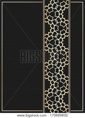 Islamic card. Golden seamless border on black background. Vector template for restaurant menu. Wedding invitation in luxury style.