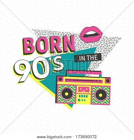 Template memphis poster or invitation for carnival with geometric ornaments elements. Back to the 90 s. Vector background in trendy 80s-90s .