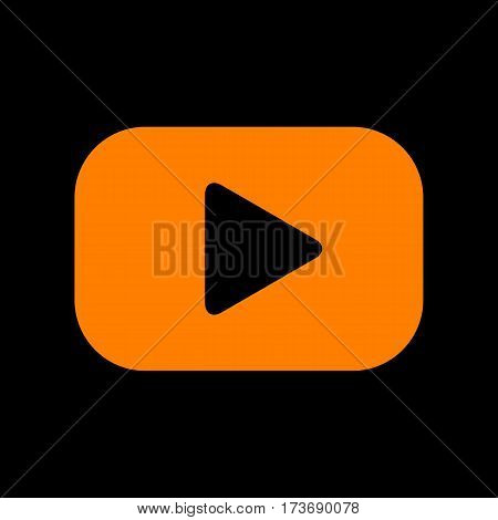 Play button sign. Orange icon on black background. Old phosphor monitor. CRT.