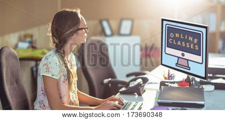 Print against woman working on computer